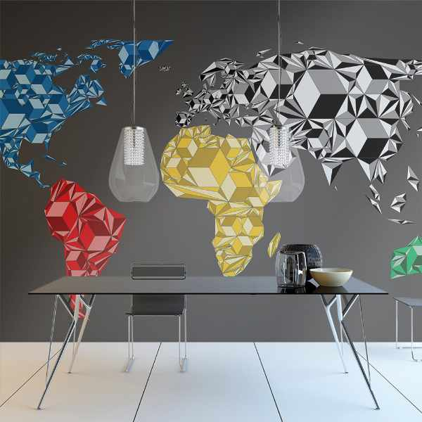 Fototapeta - Map of the World - colorful solids (200x154 cm)