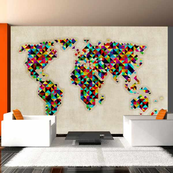 Fototapeta - World Map - a kaleidoscope of colors (200x154 cm)