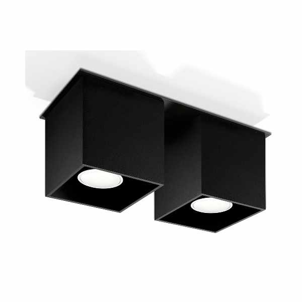 Plafon 26x10cm Sollux Lighting Quad 2 czarny